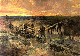 Canadian official war artists - Alfred Bastien. Canadian Gunners in the Mud, Passchendaele, 1917