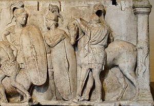 Structural history of the Roman military - Altar of Domitius Ahenobarbus, c. 122 BC; the altar shows two Roman infantrymen equipped with long scuta and a cavalryman with his horse. All are shown wearing chain mail armour.