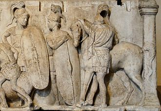 Roman army - Levy of the army, detail of the carved relief on the Altar of Domitius Ahenobarbus, 122-115 BC.