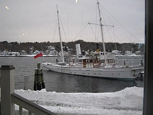 Amazon (yacht) - Amazon at Mystic Seaport, Connecticut, US, in December 2009.
