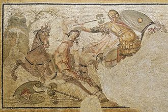 Roman cavalry - A Greek rider seizes a mounted Amazonian warrior (armed with a labrys) by her Phrygian cap; Roman mosaic emblema (marble and limestone), 2nd half of the 4th century AD; from Daphne, a suburb of Antioch-on-the-Orontes (now Antakya in Turkey)
