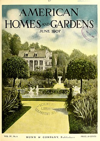 """Orson Desaix Munn - """"Hurstmont"""" in Morristown, New Jersey, on the cover of American Homes and Gardens (June 1907)"""