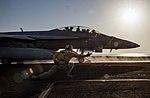 An F-A-18F Super Hornet launches from the flight deck of USS Dwight D. Eisenhower. (29982051070).jpg