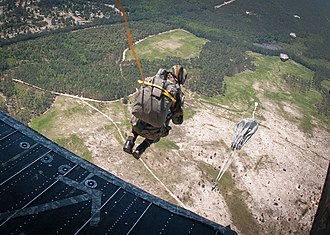 50th Parachute Brigade (India) - An Indian Army paratrooper with the 50th Parachute Brigade jumps from a helicopter