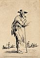 An old man in ragged clothes leaning on a stick. Etching by Wellcome V0020412EL.jpg