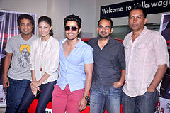 Anand Tiwari, Puja Gupta, Kunal Khemu, Krishna DK, Raj Nidimoru Promotions of 'Go Goa Gone' in association with Volkswagen 02.jpg