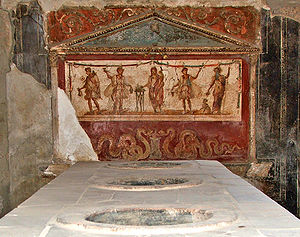Ancient Rome and wine - A fresco depicting Mercury (god of commerce) and Bacchus (god of wine) in Pompeii, in a hot-food establishment (thermopolium) that served the city prior to its destruction.