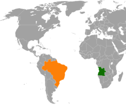 Map indicating locations of Angola and Brazil