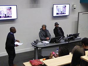 Angola Three - Albert Woodfox and Robert King at an Angola Three event at Manchester Metropolitan University.