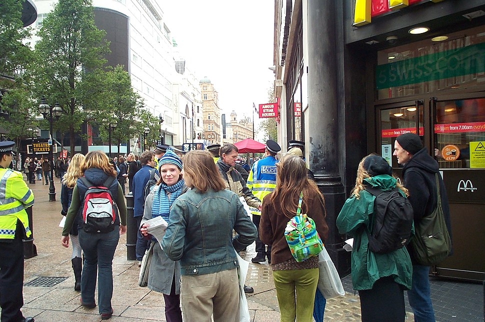 Anti-McDonalds protest Leicester Square London 20041016