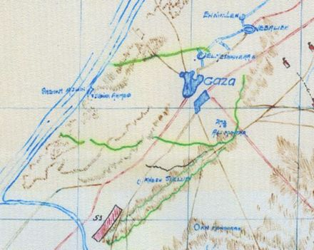 Sketch map of Gaza defences (shown in green) at 09:30 on 25 March 1917 Anzac Mounted Division War Diary AWM4-16-13 Appendix 54 Sketch Map.jpg