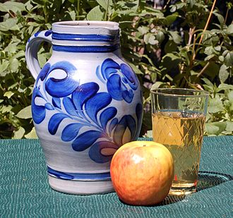 Hessian cuisine - A bembel and a traditional ribbed Apfelwein glass