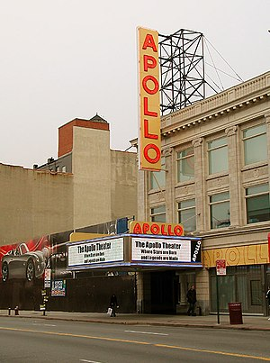 New York City ethnic enclaves - The Apollo Theater on 125th Street in Harlem; the Hotel Theresa is visible in the background.