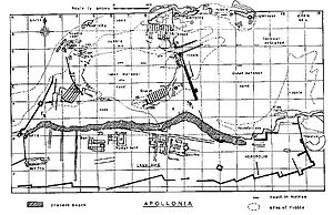 Apollonia, Cyrenaica - Map of underwater ruins at Apollonia made by divers in 1958–1959