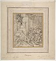 Apparition of Christ (recto); Printed Fragment with Jupiter Enthroned with Eagle, from Caraglio's Martyrdom of Saint Peter and Saint Paul (verso). MET DP810979.jpg