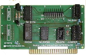 Parallel port - The Apple II Parallel Printer Port connected to the printer via a folded ribbon cable; one end connected to the connector at the top of the card, and the other end had a 36-pin Centronics connector.