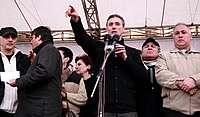 April 10, 2009. Gia Maisashvili, opposition leader, speaking to the protesters in front of the parliament building.jpg