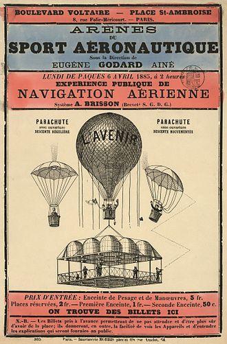 Eugène Godard - Image: Arènes du sport aéronautique sous la direction de Eugène Godard, aîné, lundi de Paques, 6 avril 1885, à 2 heures