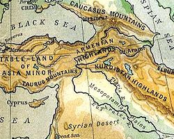 Armenian Highlands Wikipedia - Armenia physical map