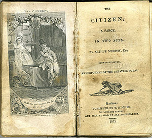 Arthur Murphy (writer) - Title page and scene from 1823 printing of The Citizen, produced in 1761