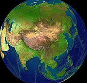 Asijský světadíl - počítačový model pohledu z vesmíru
