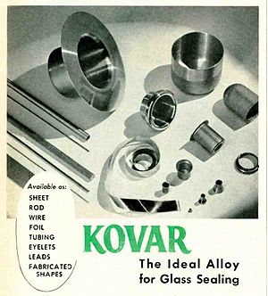Kovar - Assortment of Kovar metal shapes from an advertisement in a 1950 electronics magazine