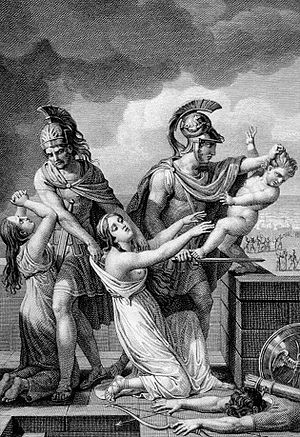 Astyanax - An engraving showing the child Astyanax thrown from the walls of Troy as his mother Andromache looks on