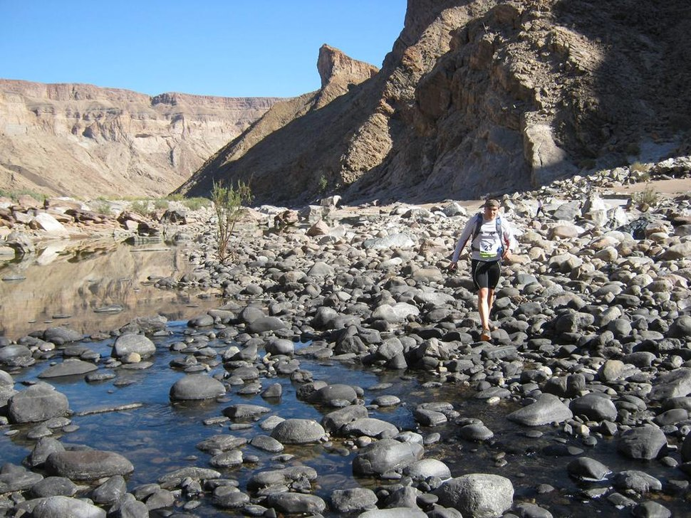 Athlete racing in the Fish River Canyon
