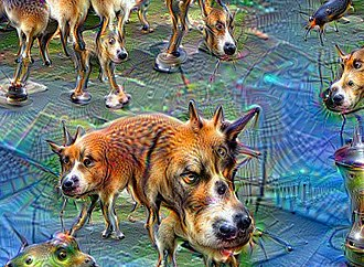 "Pareidolia - Given an image of jellyfish swimming, the DeepDream program can be encouraged to ""see"" the faces and legs of dogs"