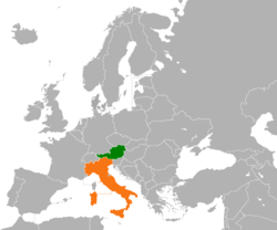 Map indicating locations of Austria and Italy