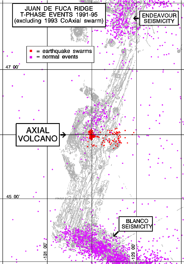 Axial seamount earthquake distribution