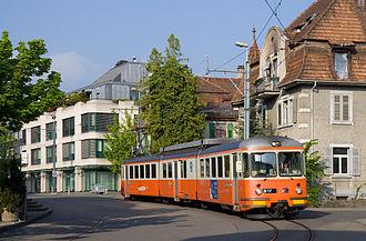 Bremgarten–Dietikon railway line - One of the BDe 8/8 units on street track in Dietikon