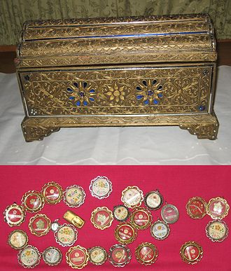 Relic - Reliquary at Pope St. John XXIII National Seminary in the United States, with relics of St. James, St. Matthew, St. Philip, St. Simon, St. Thomas, St. Stephen and other saints.