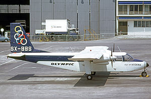 Olympic Airlines - Olympic Aviation BN.2 Islander at Athens airport in April 1973.