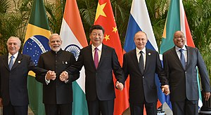 BRICS - The BRICS leaders in 2016. Left to right: Temer, Modi, Xi, Putin and Zuma.