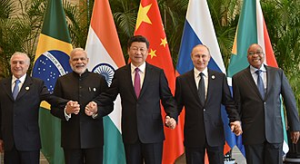 Premiership of Narendra Modi - Modi with other BRICS leaders in 2016. Left to right: Temer, Modi, Xi, Putin and Zuma.