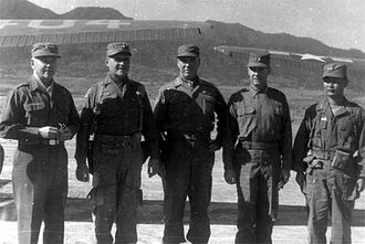 Punchbowl (Korean War) - Inspection by leading figures of UN Forces nearby the Punchbowl. (Left to right: Gen. J. Lawton Collins, Gen. Matthew Ridgway, Gen. James Van Fleet, X Corps commander Maj. Gen. Clovis E. Byers, Maj. Gen. Paik Sun-yup)