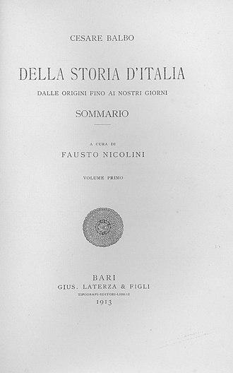 Cesare Balbo - Storia d'Italia dalle origini fino ai nostri giorni, 1913