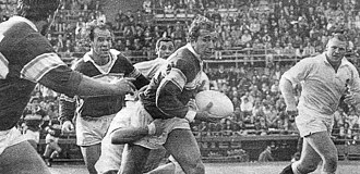 1990 England rugby union tour of Argentina - The first match of the tour, v Banco Nación (with its captain Hugo Porta carrying the ball)