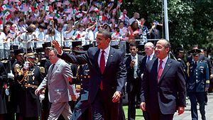 President Barack Obama is welcomed by Mexico's...