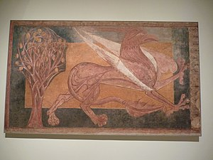 Paintings from Arlanza - The Arlanza gryphon, fresco transferred to canvas, 189.5 × 322 cm, c. 1210, MNAC, Barcelona