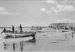 Poveiro (boat) - Ancient picture of the Port of Póvoa de Varzim