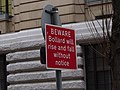 Barrier to parking area - near Birmingham Museum & Art Gallery - sign - Beware Bollard (6600508679).jpg