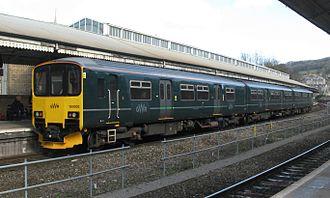 Bath Spa railway station - Image: Bath Spa GWR 150002 Cardiff to Portsmouth service