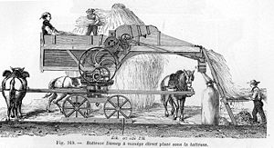 Mechanised agriculture - Threshing machine in 1881.  Steam engines were also used to power threshing machines. Today both reaping and threshing are done with a combine harvester.