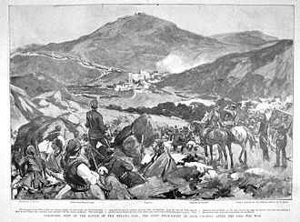 1st Infantry Division (Greece) - Panoramic view of the battlefield at the Melouna Pass on the Greco-Turkish border, with Greek positions in the foreground and the advancing Turks beyond, 1897.