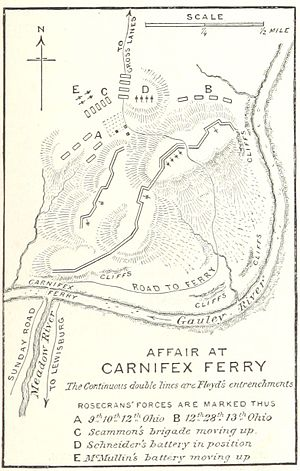 Battle of Carnifex Ferry - Image: Battle of Carnifex Ferry map