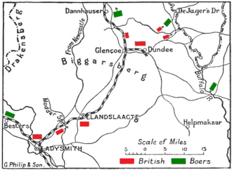Battle of Elandslaagte - Positions at noon, before the battle