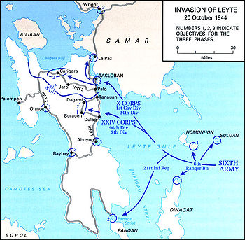 A map of an island with an attacking 6th Army force landing on its eastern edge via Leyte Gulf