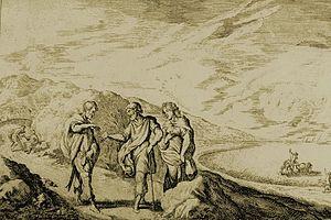 Erysichthon of Thessaly - Erysichthon Sells His Daughter Mestra. Engraving by Johann Wilhelm Baur